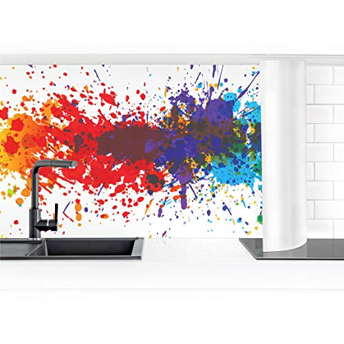 rückwand Folie selbstklebend Rainbow Splatter 70 x 200 cm Premium ()