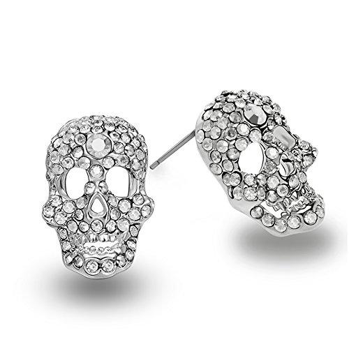 Z Ohrstecker Silber Diomand Kristall Skull Ohrringe für Damen Ohrringe Mädchen Zirkon Ohrstecker für Frauen Punk Rock Style Schmuck Zubehör Hypoallergen Schmuck Kristallen ()