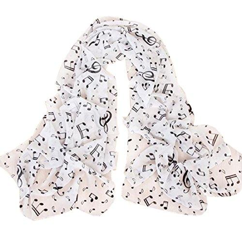 Schals Für Frauen (Schals Damen, ABsolute Mode Frauen Musiknote Lange Schal Wrap Damen Mädchen Licht Große Schals (160cm*50cm, Weiß))