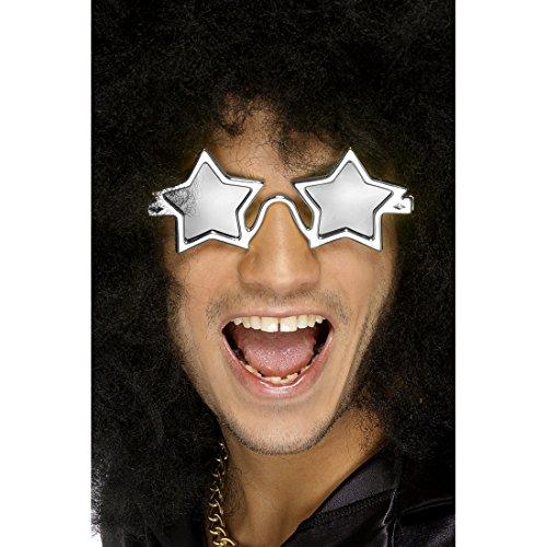 Party Sternenbrille Rock Star Spaßbrille silber Elton John Partybrille Sterne Sternen Brille Karnevalskostüme Zubehör Schlagerparty Accessoire Stern Faschingsbrille