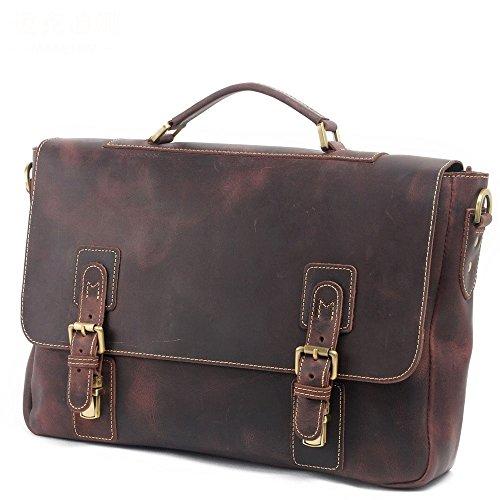 Preisvergleich Produktbild Männer Business Vintage Messenger Schultertasche Crossbody Tote Bag 15 Zoll Laptop Aktentasche Handtasche Braun Bürotasche
