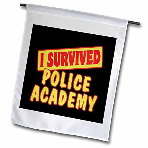 3drose FL _ 118180_ 1Ich überlebte Police Academy Survival Stolz und Humor Design Garten Flagge, 12von 18 (Ich 12 überlebte)