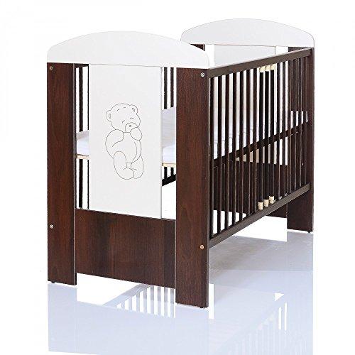 Lit bébé enfant 120x60 cm Ours morron pin avec gravée en bois et matelas en mousse