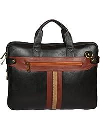 Sahil Leather Black & Brown Leather Laptop Bag