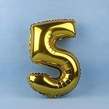 """Takalao Oro y la plata 40"""" número 0-9 hoja de globos para boda cumpleaños y nombre-no-flote, necesita ser colgado o pegado a la pared , large numbers gold 5"""