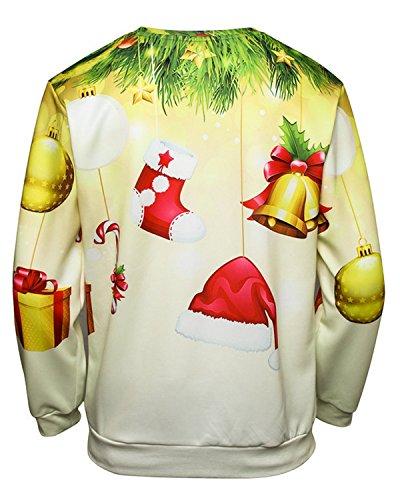 JOLIME Herren Unsiex 3D Druck Weihnachten Pullover Sweatshirt Christmas Jumper Langarmshirt 03