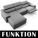 Leder Couch Ecksofa Couchgarnitur TV-Sofa Funktionssofa Relax Funktion Polsterecke