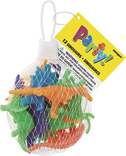 Unique Party - 74014 - Paquet de 12 Jouets Dinosaures pour Pochettes - Cadeau 0011179740147