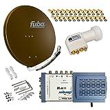 HB-Digital SET: FUBA 8 Teilnehmer Digital SAT Anlage 85cm DAA850B + hochwertiger LNB 0,1dB FULL HDTV 4K + 5/8 Multischalter + 24 Vergoldete F-Stecker Gratis dazu