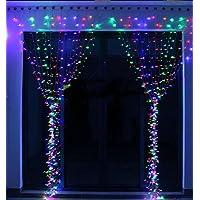 KNONEW 300 LED 3m*3m Cortina luminosa de Lamparitas LED para Decoración de Ventanas,, Bares, Navidad,Patios, Fachadas, Entradas, Día de San Valentín, Bodas, Luz de Fondo(Blanco cálido) (Muti-color)