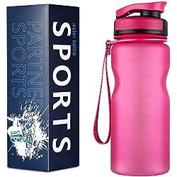 Alupper Sport Trinkflasche-Tritan Wasserflasche-500ml&1000ml-BPA-frei-Ideale Sportflasche-Schneller Wasserdurchfluss,der Verschluss öffnet Sich mit einem 1-Click (Rot, 0.6L)