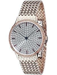 Yves Camani Damen-Armbanduhr Garonne mit rosegoldenem Edelstahl-Gehäuse und silbernem mit 150 Zirkonia-Steinen besetztem Zifferblatt. Elegante Quarz Damen-Uhr mit rosegoldenem Edelstahl-Armband
