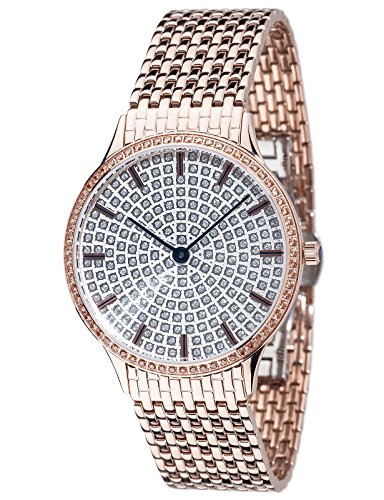 YVES CAMANI GARONNE women's wrist watch analog quartz rosegold stainless steel strap silver dial YC1095-A