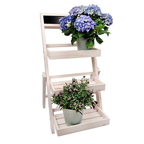 Scaffale in legno per piante e fiori, a scale, stile Shabby Chic, bianco