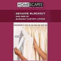 """Homescapes Blackout Thermal Curtain Lining Pair for 117cm (46"""") Wide x 137cm (54"""") Drop Readymade Curtains. Nine Sizes Noise Reducing Guaranteed"""
