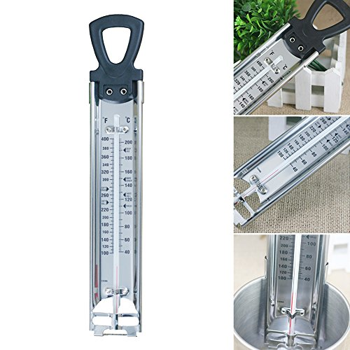 Termometro per marmellata di zucchero con clip, in acciaio inox anticorrosione, termometro da cucina accurato per liquidi, latte, dolci, dolciumi Taglia libera Silver