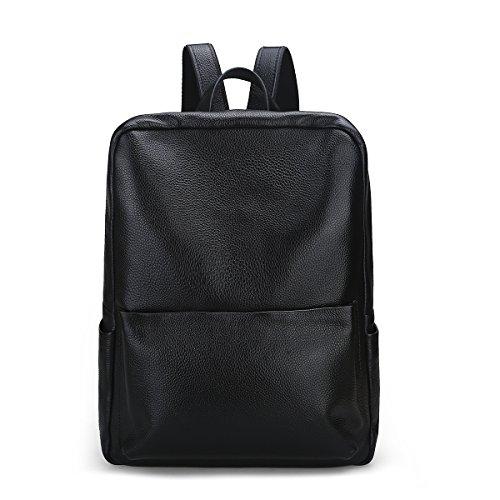 Damero Genuine Leather zaino borsa, sacchetto di scuola Daypack Bag, nero
