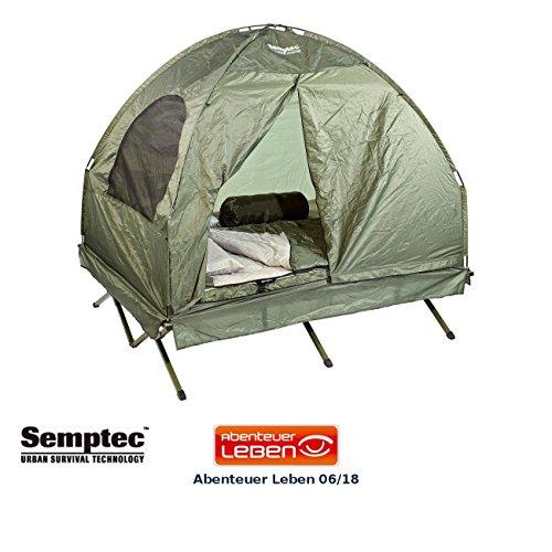 Semptec Urban Survival Technology Zelt: 4in1-Doppelzelt mit 2 Schlafsäcken, Matratze, Liege und Kissen (Feldbett Zelt)