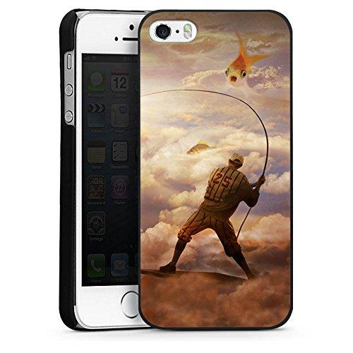 Apple iPhone 5s Housse Étui Protection Coque Poisson Poisson rouge Pêche CasDur noir