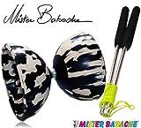 Diabolo Set Harlekin medium zweifarbig schwarz/weiß mit Alu-Handstäben und Spielanleitung