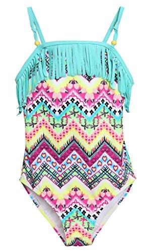 Mädchen Badeanzug (Attraco Mädchen Bunt Einteiler Tribal Badeanzug Quaste Mehrfarbig Türkis 7-8 Jahre( Herstellergröße 8 ))