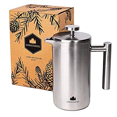 Groenenberg Cafetière | French Press Coffee Maker 1 Litre | 5 Cup Stainless Steel Coffee Press | Double-walled & incl. replacement filter by Groenenberg