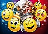 Smiley-Einladungen SMILEY-PARTY IN DER DISCO: Geburtstagseinladungen Jungen Mädchen Kinder/10-er Set lustige Smiley-/Emoji-Einladungskarten zum Geburtstag oder zur Disko von EDITION COLIBRI © (10833)