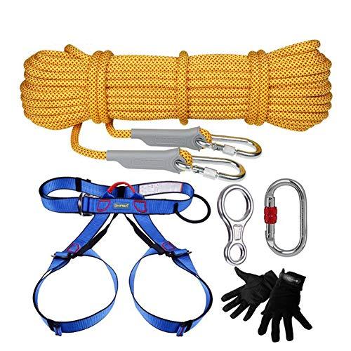 GYHHHM Kletterseil-Set, Outdoor-Equipment Gym Kletter-Rope Kletterschutzseil Heavy Duty Rope,Yellow,40m