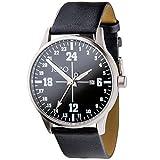JOBO Unisex Armbanduhr 24-Stunden-Uhr Quarz Analog Edelstahl Leder