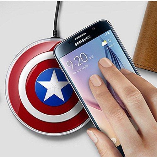 Tech Corp Captain America DE Drahtlos Wireless Induktive Ladestation/Ladegerät für Samsung Galaxy S7/S7 Edge Note 5 - 5