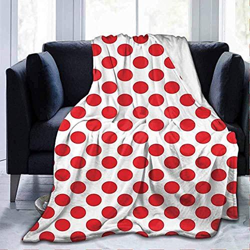 Blanche Lynd Flanell Ultra-weiche Decke geometrische 50er Jahre 60er Jahre alte Pop-Art Retro Vintage Polka Dots Runden Kreise Dekor Kunstdruck Scharlach und weiß 40 * 50 Zoll