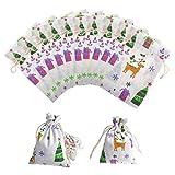 Pochette en Lin 10 Pièces Sachets en Jute Pochette à Bijoux Petit pour Noël Cadeaux 10 x 14cm