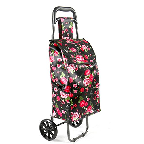 Leichter Faltbarer Einkaufswagen Lebensmittelgeschäft-Gepäck 2 PU-Rad Griff Zusammenklappbare Ziehwagen Satin Tuch Einkaufstasche Wagen Große Kapazität 30L Gewicht: 2kg (Schwarz, Rote Blumen)