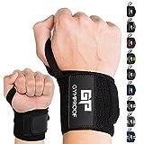 GYMPROOF - Premium-Handgelenkbandagen im 2er Set - Wrist Wraps - für optimalen Trainingserfolg im Fitness, Bodybuilding, CrossFit, Kraftsport und Powerlifting [geeignet für Frauen & Männer] (schwarz/schwarz)