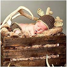 Hecho a mano bebé recién nacido bebé niña niño ganchillo ciervos sombrero pantalones disfraz fotografía accesorios trajes