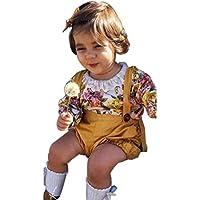Moonuy Toddler Kids Baby Girls Trajes de Algodón Vestido de encaje de impresión Floral Romper O-cuello de manga larga Tops + pantalones cortos Set (Amarillo, 90)