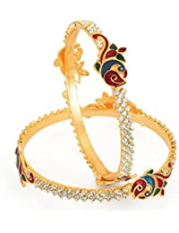 Sukkhi Gold Plated Meenakri Peacock AD Stone Bangles For Women
