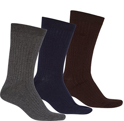 Sakkas 5699Asst Herren Baumwollmischung Ribbed Dress Socken Value Pack - Assorted 3-Pack (Herren Value Pack Socken)