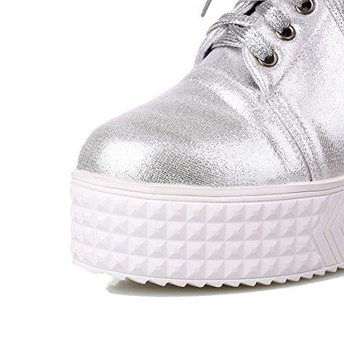VogueZone009 Femme Lacet Rond à Talon Haut Pu Cuir Couleur Unie Chaussures Légeres Argent
