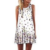VEMOW Vintage Boho Frauen Sommerkleider Sleeveless Strand Gedruckt Kurzes Minikleid Eine Linie Abendkleid Täglich beiläufige Partei Weste T-Shirt Kleid Plus Size Rock(X1Weiß 23, EU-46/CN-XL)