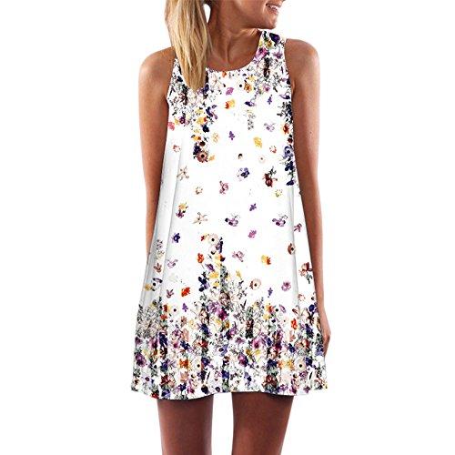 VEMOW Vintage Boho Frauen Sommerkleider Sleeveless Strand Gedruckt -