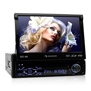 """Auna MVD-180 Bluetooth Car Radio DVD Player Stereo System LCD USB SD High Performance (7"""", 4x50W MOSFET, Flip out TFT with Touch Screen) Black"""