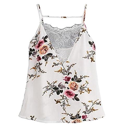 Transer Damen Chiffon Cami Trägershirts Shirt Drucken Blume Bluse Tops Weste Transparent Spitze Stitching (Checked Cami)