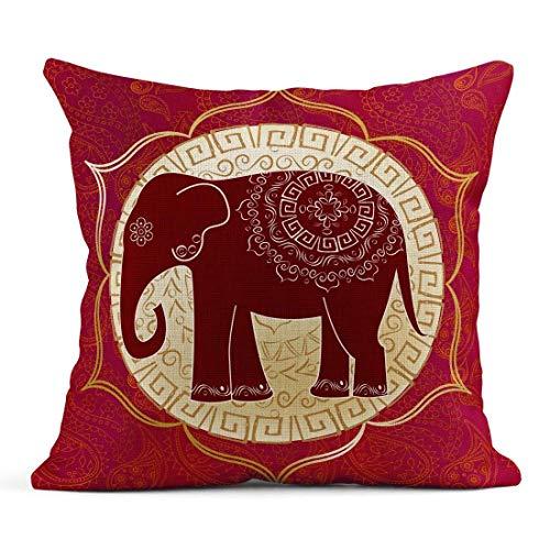 Kinhevao Cojín India Elefante Indio Mandalas Yoga Aura Lotus Ethnic Peru Cojín de Lino Almohada Decorativa para el hogar