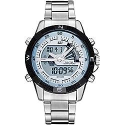 Men's Sport Wrist Watch - ASJ Fashion Men's Sport Quartz Digital Alarm Chronograph Wrist Watch, Black+White