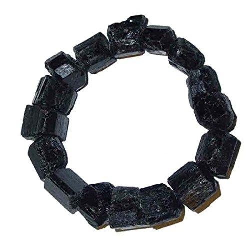Turmalin schwarz Schörl Armband aus natur unbehandelten ca. 12 - 15 mm großen Turmalinen elastisch aufgezogen.(2974)