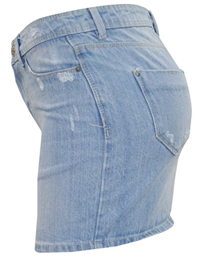 New Ladies Stretch Denim Short Mini jupe Womens Summer Buttons Ripped Jeans Brenda - Light Wash