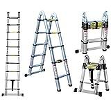 escalera doble Telescópica de 4,4 m, versátil plegable extensible portátil multifunción, escalera para todas tus necesidades de bricolaje.