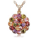"""Pauline & Morgen """"cinderella Blume"""" Kette Damen Kristall Rosegold vergoldet - Die Kreation ist das perfekte Symbol fur Liebe und Leidenschaft."""