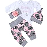 Chinatera Baby Girl's Clothes Set Romper Floral Print Pants Hat Headband Cotton Elastic S Outfits